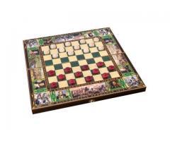 Шахматы деревянные 29 см. темная тонировка
