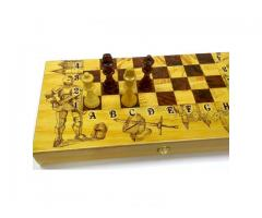 Набор игр 50 см Рыцари Шахматы шашки нарды дерево