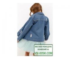 Жакеты Acoola Жакет джинсовый детский для девочек с нашивкой и искусственными потертостями цвет сини